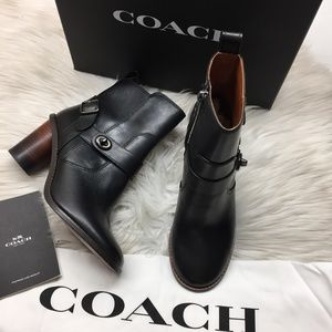 Coach Black Leather Booties 6.5M